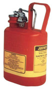 Justrite Oval Nonmetallic Type l Safety Cans for Flammables, 1 gal, Red, Stainless Steel, 1/CAN, #14160