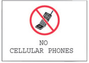 Brady Phone Signs, No Cellular Phones, White/Red/Black, 1/EA, #95503