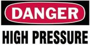 Brady Gas Cylinder Lockout Labels, Danger High Pressure Gas, 5 in W x 3 in L, White/RD, 10/PKG, #60309