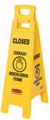 Newell Rubbermaid™ Floor Safety Signs, Closed (Multi-Lingual), Yellow, 37X12, 1/EA, #611478YEL