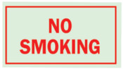 Brady Glo Glow-In-The-Dark Safety Signs, No Smoking, Glow Background/Red Text, 1/EA, #80248