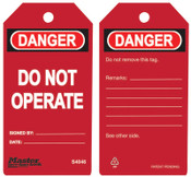 Master Lock Guardian Extreme Safety Tags, 5 3/4 x 3 in, Danger - Do Not Operate, Red, 6/PK, #S4046