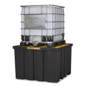 Justrite EcoPolyBlend IBC Pallets, Black/Yellow, 9,000 lb, 372 gal, 55 in x 55 in, 1/EA, #28674