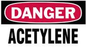Brady Gas Cylinder Lockout Labels,  Danger Acetylene Gas, 5 in W x 3 in L, White/Red, 10/PKG, #60311