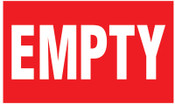Brady Gas Cylinder Lockout Labels, Empty Gas, 5 in W x 3 in L, Red/White, 10/PKG, #60307