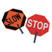 """Cortina Safety Paddle, Silk-Screened Plastic, 9"""" Hndl, STOP/SLOW, Red/White/Orange/Blk, 1/EA, #3851"""