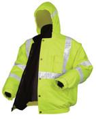 MCR Safety Luminator Bomber Plus Jackets, 4X-Large, Fluorescent Lime, 1/EA, #BPCL3LX4