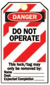 Brady Heavy Duty Lockout Tags, 4.8 x 7 1/2 in, Danger, Do Not Operate, 25/PKG, #65520