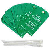 Brady Cylinder Status Tags, 3 in x 5.3 in, Full Cylinder/Ready For Use, White on Green, 10/PKG, #17926