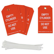 Brady Cylinder Status Tags, 3 in x 5.3 in, Empty Cylinder/Do Not Use, White/Red, 10/PKG, #17924