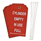 Brady Cylinder Status Tags, 6 in x 6 1/2 in, Cylinder Empty/In Use/Full, White/Red, 10/PKG, #17928