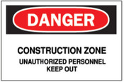 Brady Traffic Signs, Danger, Construction Zone, White/Red/Black, 1/EA, #43382