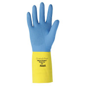 Ansell Chemi-Pro Unsupported Neoprene Gloves, Yellow/Blue, Size 10, 12 Pair, #8722410