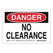 BRADY DANGER No Clearance Signs, Red on White, 1/EA, #116151
