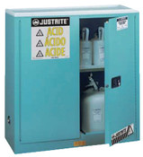 Justrite Blue Steel Safety Cabinets for Corrosives, Manual-Closing Cabinet, 30 Gallon, 1/EA, #893002