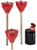 Justrite Large Funnel w/Self-Closing Cover; Safety Drum Funnel w/Brass Flame Arrestor, 1/EA, #8207
