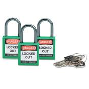 Brady Compact Safety Locks,  1 1/5 in W x 5/8 L in x 1 2/5 H, Green, 3/Pk, 1/PK, #118955