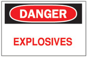 Brady Chemical & Hazardous Material Signs, Danger, Explosives, White/Red/Black, 1/EA, #75639