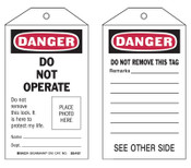 Brady Self-Laminating Tags, 5.3 x 3 in, Danger, Do Not Operate, 10/PKG, #65501