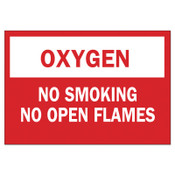 Brady Chemical and Hazardous Material Signs, Oxygen/No Smoking No Open Flames, 1/EA, #73418