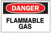 Brady Chemical & Hazardous Material Signs, Danger/Flammable Gas, White/Red/Black, 1/EA, #72230