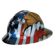 MSA Freedom Series V-Gard Helmets, Fas-Trac III, 6 1/2 - 8, American Flag w/2 Eagles, 1/EA, #10071159