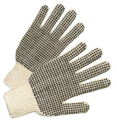 Anchor Products PVC-Dot String-Knit Gloves, Men's, Knit-Wrist, Natural White, Dots 2 Side, 12 Pair, #708SKBS