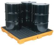 Eagle Mfg 4-Drum Modular Platforms, Yellow, 10,000 lbs, 30 gal/side, 51 1/2 in x 52 1/2 in, 1/EA, #1634