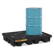 "Justrite EcoPolyBlend Spill Control Low Line Pallets, Black, 2,500 lb, 67 gal, 45"" x 55"", 1/EA, #28672"