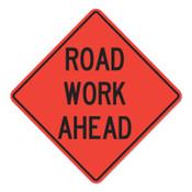 Cortina Road Work Ahead Signs, Orange, Nonreflective, 48 in Long, 1/EA, #078004716L