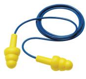 3M E-A-R Ultrafit Earplugs 340-4004, Elastomeric Polymer, Yellow, Corded, Box, 100/BX, #7000002320