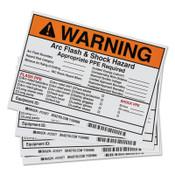 BRADY Arc Flash Labels, 7 in x 5 in, Warning - Arc Flash & Shock Hazard, Orange, 1/EA, #122977