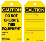 Master Lock Guardian Extreme Safety Tags, 5 3/4 x 3 in, Caution - Do Not Operate This Equip., 6/PK, #S4050