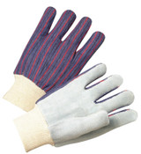 Anchor Products Leather Palm Knit Wrist Cotton Gloves, Men's, Cowhide, Pearl Gray, Striped Back, 12/DOZ, #100