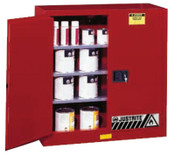 Justrite Safety Cabinets for Combustibles, Manual-Closing Cabinet, 40 Gallon, Red, 1/EA, #893011