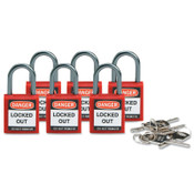 Brady Compact Safety Locks,  1 1/5 in W x 5/8 L in x 1 2/5 H, Red, 6/Pk, 1/PK, #118926