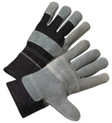Anchor Products Leather Palm Denim Back Gloves, Large, Pearl Gray w/Stripes, 12/DOZ, #85DB7563P