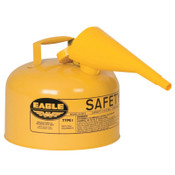 Eagle Mfg Type 1 Safety Can With Funnel, 2.5 gal, Steel, Yellow, 1/EA, #UI25FSY