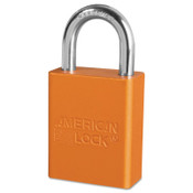 American Lock Solid Aluminum Padlocks, 1/4 in Diam., 1 in L X 3/4 in W, Orange, 6/BX, #A1105ORJ
