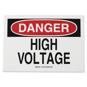 Brady Health & Safety Signs, Danger - High Voltage, 10X14 Fiberglass, 1/EA, #47005