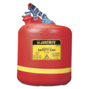 Justrite Nonmetallic Type l Safety Cans for Flammables, Flammable Storage Can, 5 gal, Red, 1/CAN, #14561