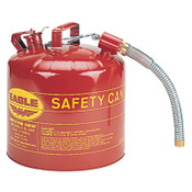 "Eagle Mfg Type ll Safety Cans, Flammable Storage Can, 5 gal, Yellow, 7/8"" Flex Metal Spout, 1/CAN, #U251SY"
