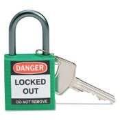 Brady Compact Safety Locks,  1 1/5 in W x 5/8 L in x 1 2/5 H, Green, 1/EA, #143152