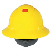 3M Full Brim Hard Hats with Uvicator, 4 Point, Rachet, Hi Viz Yellow, 20/CA, #7000144976