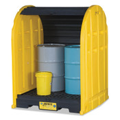 Justrite EcoPolyBlend DrumSheds, Yellow, 2,500 lb, 67 gal, 58 1/2 in x 60 3/4 in, 1/EA, #28675