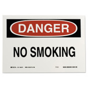 Brady Health & Safety Signs, Danger - No Smoking, 7X10 Polyester Sticker, 1/EA, #88370