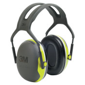 3M PELTOR X Series Ear Muffs, 27 dB NRR, Black/Hi-Viz Yellow, Over the Head, 1/EA, #7000104073