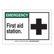 Brady EMERGENCY First Aid Station Signs,  10w x 7h, Black/Green, 1/EA, #21806