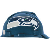 MSA Officially-Licensed NFL V-Gard Helmets, 1-Touch, Seattle Seahawks, Silver; Blue, 1/EA, #818410