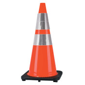 Cortina PVC Traffic Cones. 28 in, 6 in & 4 in Reflective Collar, PVC, Orange/Black, 1/EA, #350010